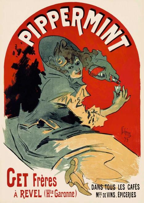 Cheret Jules Pippermint segni cm115X80 Immagine su CARTA TELA PANNELLO CORNICE Verticale