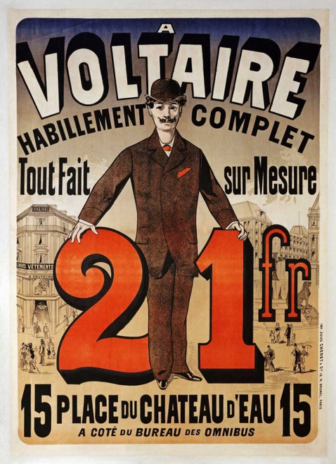 Cheret Jules Un Voltaire Vintage ? cm109X78 Immagine su CARTA TELA PANNELLO CORNICE Verticale