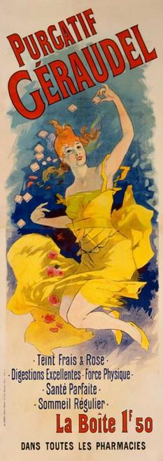 Cheret Jules purgatif Geraudel Vintage ? cm144X50 Immagine su CARTA TELA PANNELLO CORNICE Verticale
