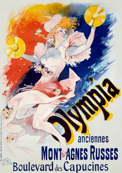 Cheret Jules Olympia / Old Roller Coaster Vintage ? cm123X86 Immagine su CARTA TELA PANNELLO CORNICE Verticale