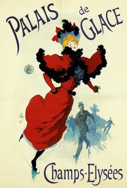 Cheret Jules Palazzo del ghiaccio Vintage ? cm134X89 Immagine su CARTA TELA PANNELLO CORNICE Verticale