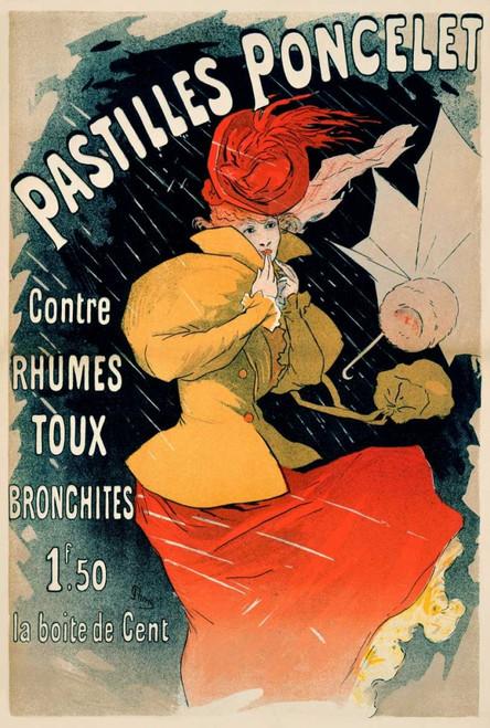Cheret Jules pastiglie Poncelet Vintage ? cm118X78 Immagine su CARTA TELA PANNELLO CORNICE Verticale