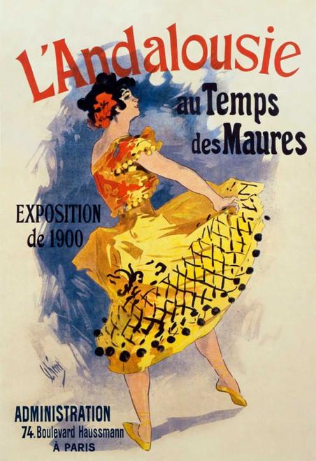 Cheret Jules Andalucía del tempo dei Mori Vintage ? cm117X80 Immagine su CARTA TELA PANNELLO CORNICE Verticale