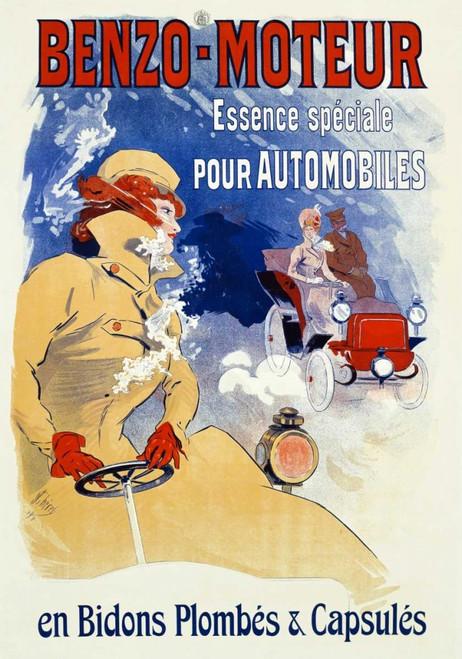 Cheret Jules Benzo Engine Vintage ? cm115X80 Immagine su CARTA TELA PANNELLO CORNICE Verticale