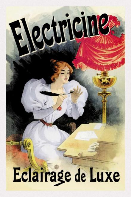 Cheret Jules Electricine   Illuminazione di lusso Vintage ? cm109X73 Immagine su CARTA TELA PANNELLO CORNICE Verticale
