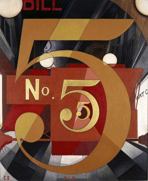 Demuth Charles La Figura 5 In oro segni cm89X73 Immagine su CARTA TELA PANNELLO CORNICE Verticale