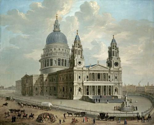 English School Vista della Cattedrale di Saint Paul Paesaggio cm66X82 Immagine su CARTA TELA PANNELLO CORNICE Orizzontale