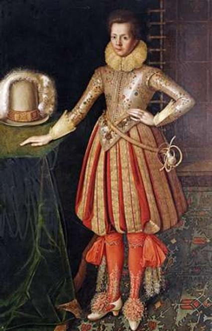 English School Ritratto di gentiluomo museo cm82X52 Immagine su CARTA TELA PANNELLO CORNICE Verticale