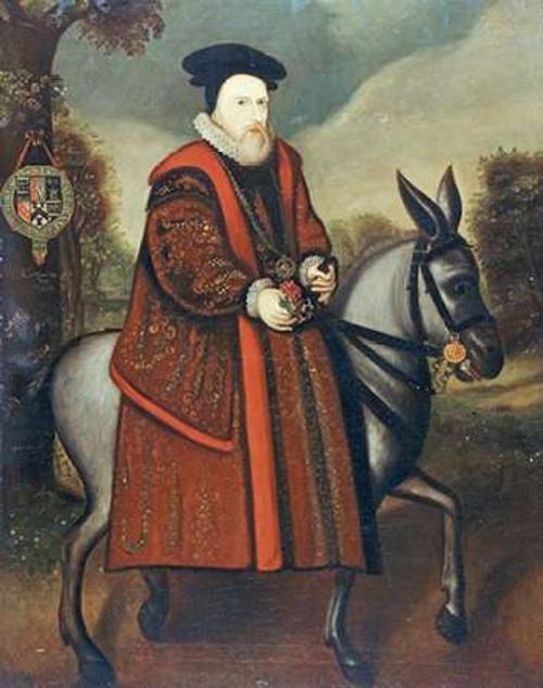 English School William Cecil, primo barone Burghley museo cm82X64 Immagine su CARTA TELA PANNELLO CORNICE Verticale