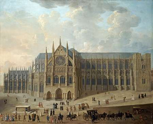 English School View of Westminster Abbey museo cm66X82 Immagine su CARTA TELA PANNELLO CORNICE Orizzontale