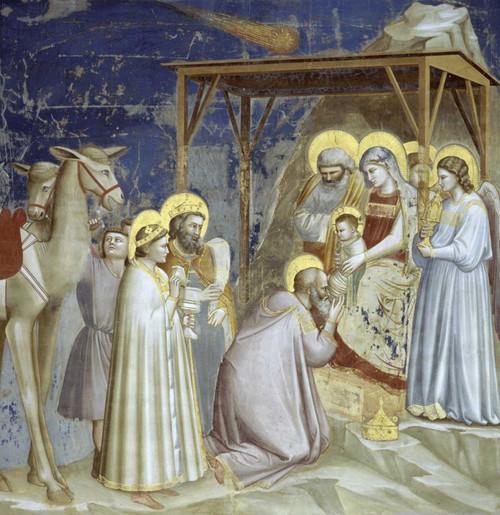 Giotto Adorazione dei Magi Figurativo cm77X77 Immagine su CARTA TELA PANNELLO CORNICE Verticale
