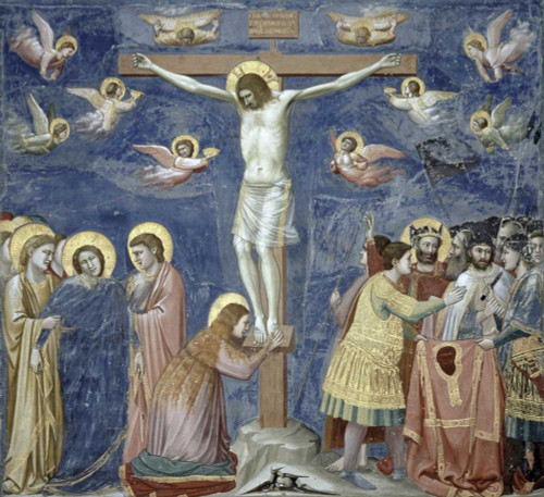 Giotto Crocifissione Figurativo cm77X84 Immagine su CARTA TELA PANNELLO CORNICE Orizzontale