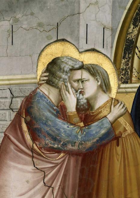 Giotto Incontro alla Porta Aurea   Dettaglio Figurativo cm100X70 Immagine su CARTA TELA PANNELLO CORNICE Verticale