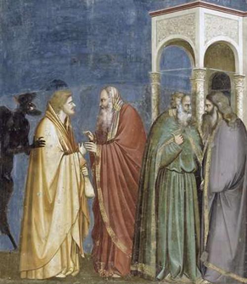 Giotto Tradimento di Giuda museo cm84X73 Immagine su CARTA TELA PANNELLO CORNICE Verticale