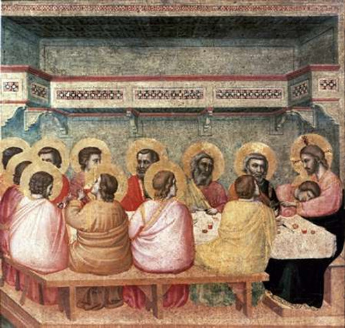 Giotto Ultima cena museo cm80X84 Immagine su CARTA TELA PANNELLO CORNICE Orizzontale