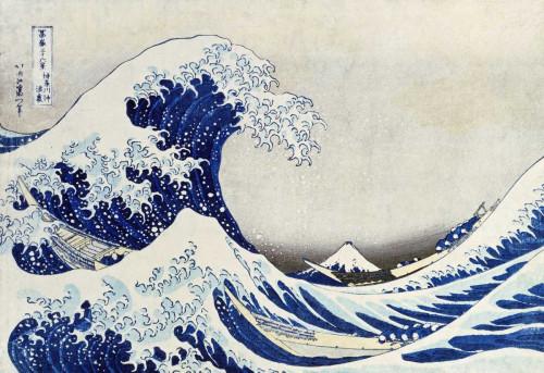 Hokusai La grande onda di Kanagawa Costiero cm57X84 Immagine su CARTA TELA PANNELLO CORNICE Orizzontale