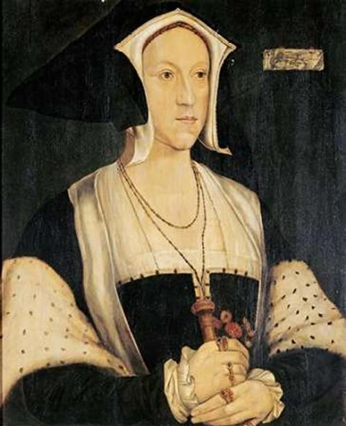 Holbein Hans Ritratto di Margherita Wotton museo cm77X64 Immagine su CARTA TELA PANNELLO CORNICE Verticale