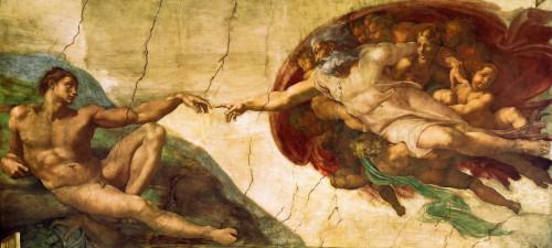 Michelangelo Creazione di Adamo   1 Fantasia cm43X98 Immagine su CARTA TELA PANNELLO CORNICE Orizzontale
