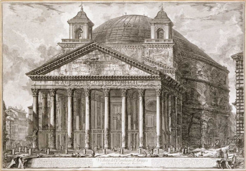 Piranesi Una vista del Pantheon, Roma europeo cm52X75 Immagine su CARTA TELA PANNELLO CORNICE Orizzontale
