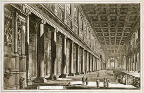 Piranesi Interior of The Basilica of S. Maria Maggiore, Rome europeo cm52X82 Immagine su CARTA TELA PANNELLO CORNICE Orizzontale