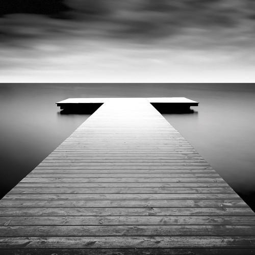 Biebel Idilliaco Lago Molo Costiero cm54X54 Immagine su CARTA TELA PANNELLO CORNICE Quadrata
