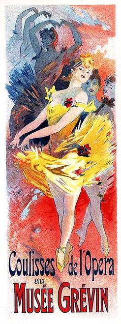 Cheret Jules Musee Grevin 1891 Vintage ? cm182X68 Immagine su CARTA TELA PANNELLO CORNICE Verticale