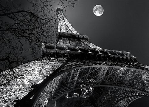 Carrara Antoine Torre Eiffel, la luna piena Nero bianco cm89X125 Immagine su CARTA TELA PANNELLO CORNICE Orizzontale