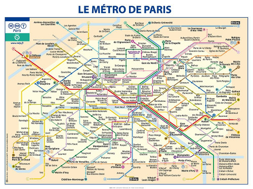 Ratp Metro Paris Mappe cm85X115 Immagine su CARTA TELA PANNELLO CORNICE Orizzontale