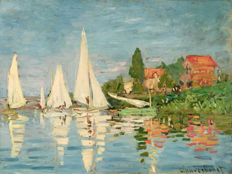 Monet Claude Regata ad Argenteuil Paesaggio cm84X111 Immagine su CARTA TELA PANNELLO CORNICE Orizzontale