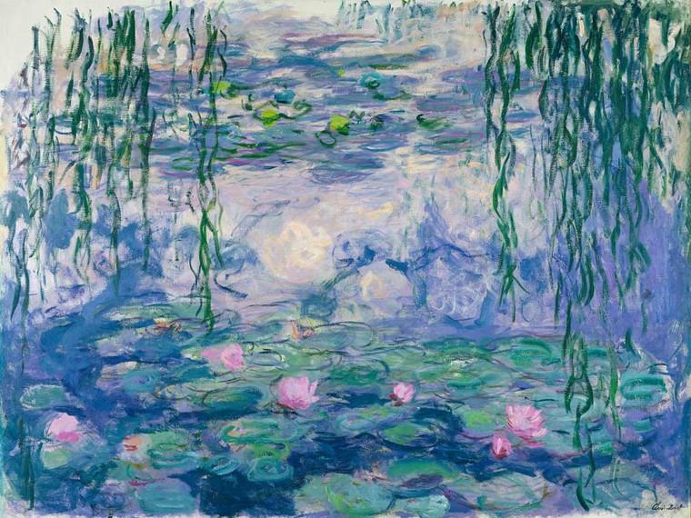 Monet Claude Ninfee Paesaggio cm84X111 Immagine su CARTA TELA PANNELLO CORNICE Orizzontale
