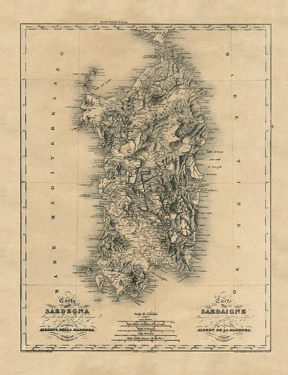 Archivio Antica mappa Sardegna Isola Mar Mediterraneo europeo cm116X89 Immagine su CARTA TELA PANNELLO CORNICE Verticale