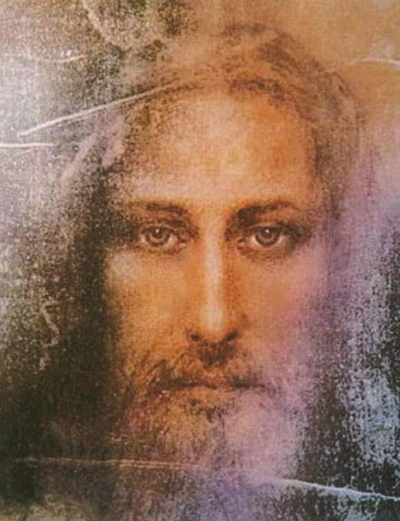 Archivio Gesù Cristo Volto sindonico sacra Figurativo cm61X48 Immagine su CARTA TELA PANNELLO CORNICE Verticale