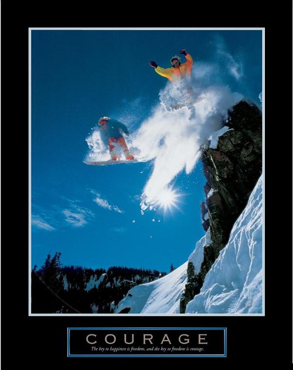 Archivio Coraggio   snowboarder Giochi e Sport cm18X13 Immagine su CARTA TELA PANNELLO CORNICE Verticale