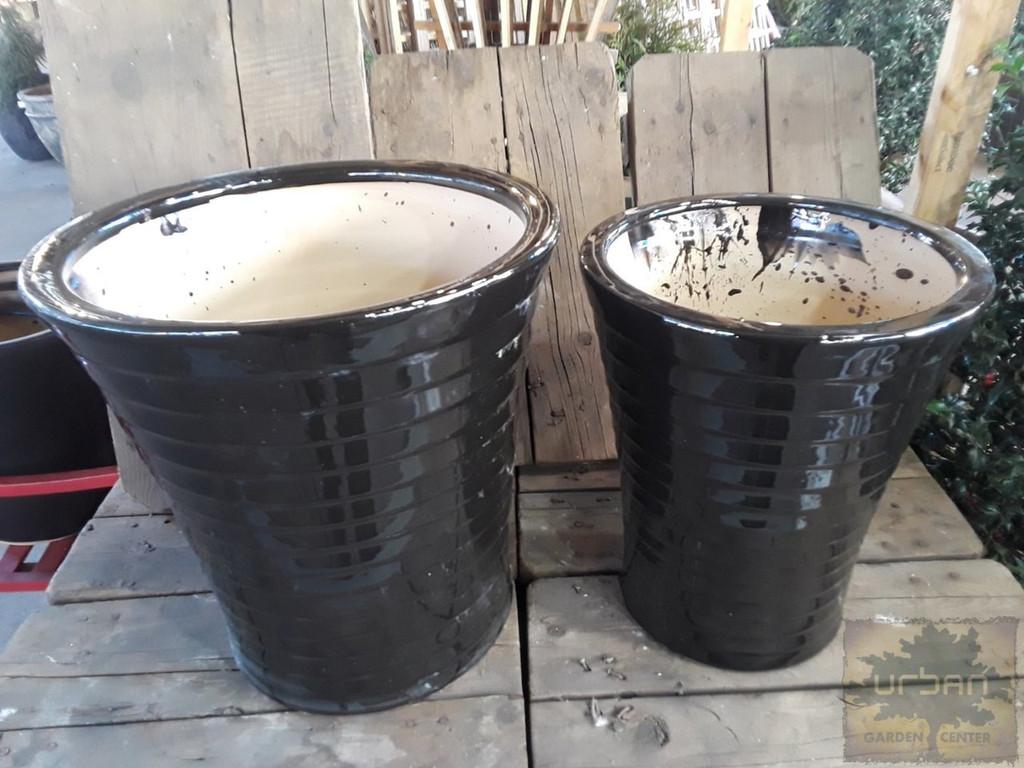 "Ceramic Black Vertical Pot & Saucer 10"" 12"""