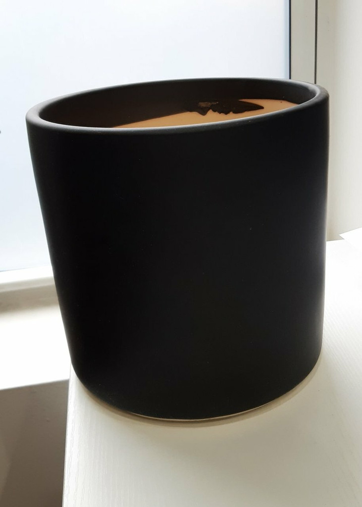 """Ceramic Cylinder Pot & Saucer White or Black 6"""" 7"""" 9"""""""