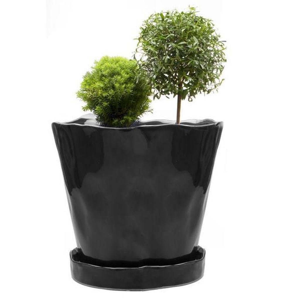 """Ceramic Big Tika Pot & Saucer 5"""""""