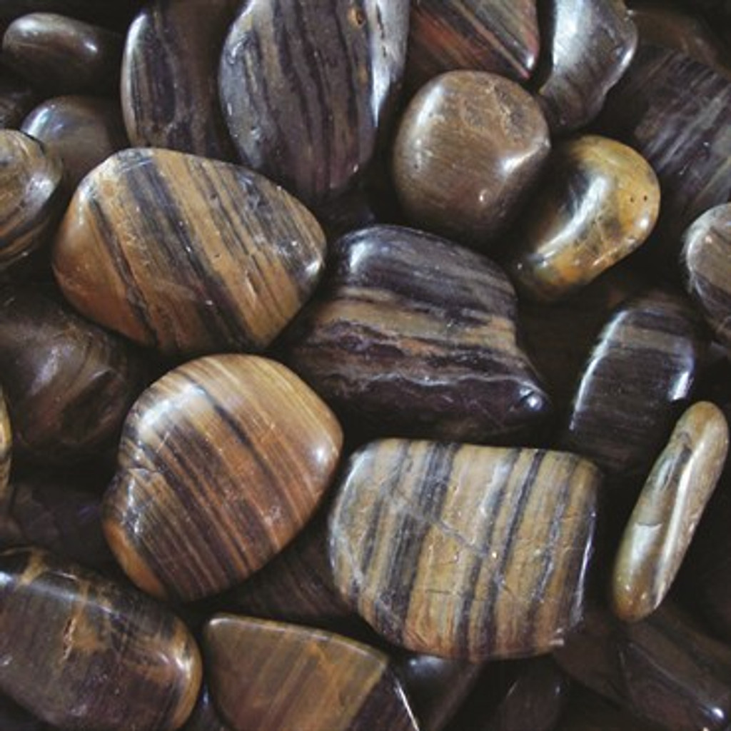 Exotic Polished Pebbles Striped  5lb Bag