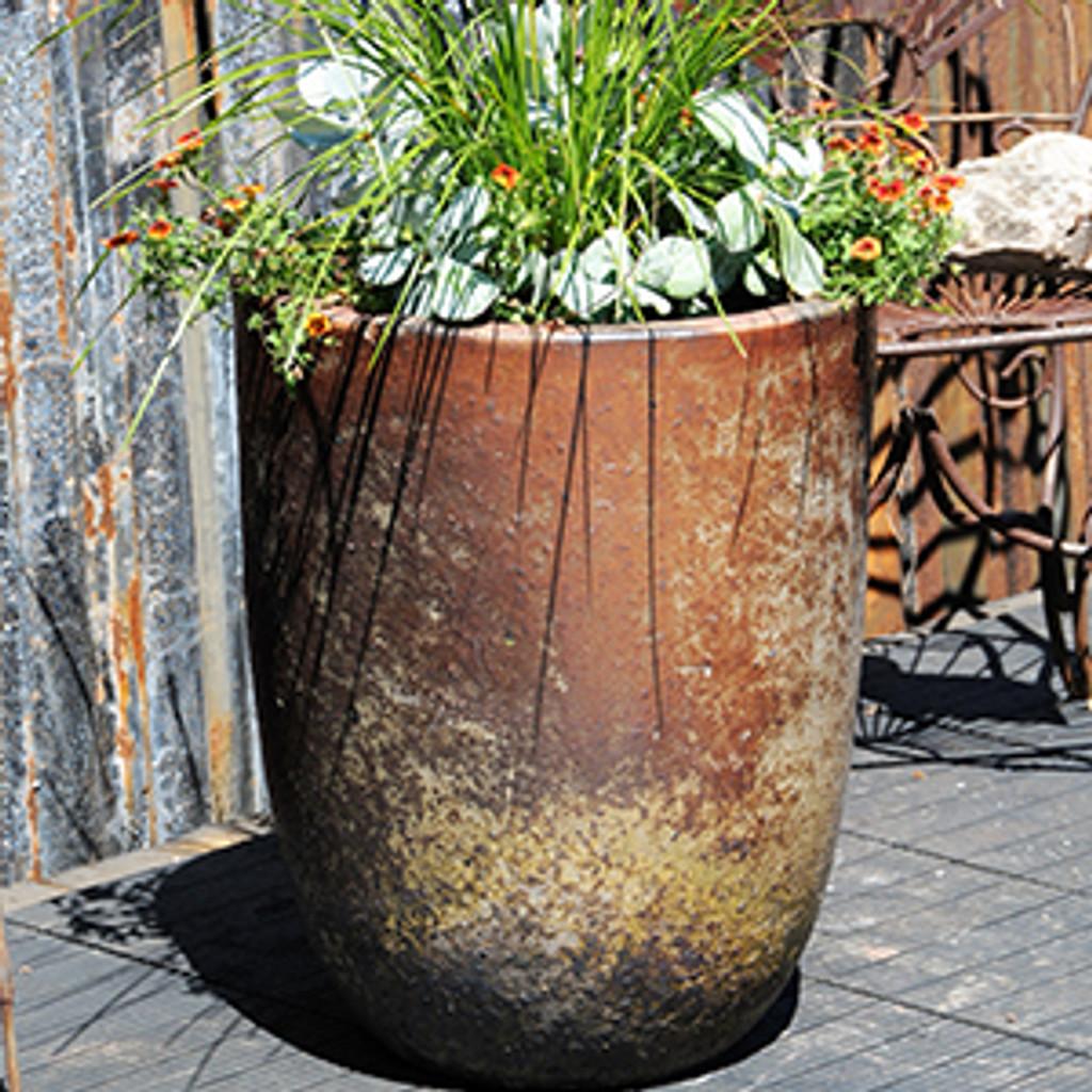Milano Tall Barrel Planter, Heirloom White