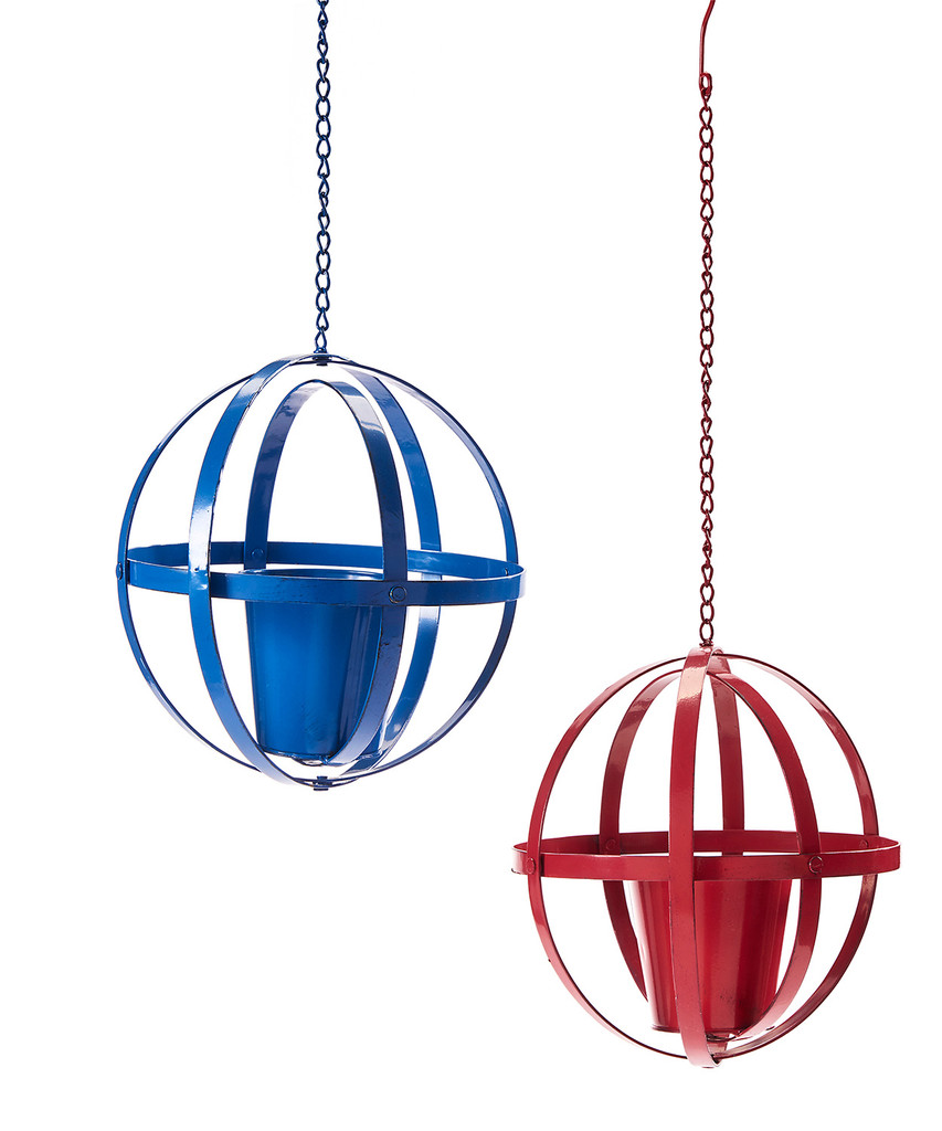 "Hanging Iron Orb Planter 29"""