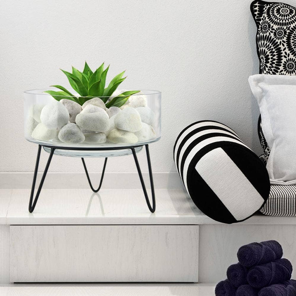 """Planter Glass with Metal Stand 8.5"""" and 11"""""""