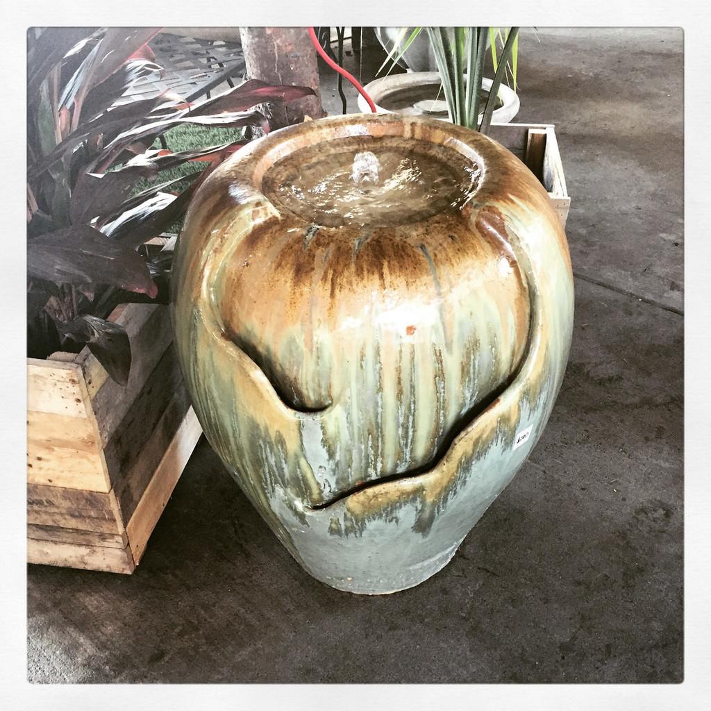 """Glazed Pottery Fountain 29"""""""