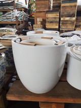 "Ceramic White Gloss Pot & Saucer 6"" to 17.5"""
