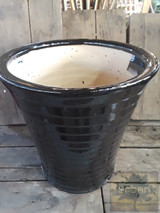 "Ceramic Black Vertical Pot 10"" 12"""