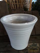 "Ceramic Vertical Pot & Saucer White 10"" 12"""