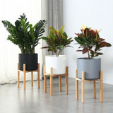 """Planter Hopson with Wood Stand 10"""" 12"""" 14"""" 16"""""""
