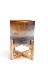 "Planter Hand Blown Art Glass Cylinder on Wood Stand 13"""