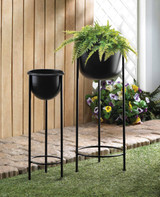 """Planter Bucket on a Plant Stand Black 25"""" and 30"""""""
