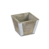"""Planter Tapered Wood Squared 4.75"""""""