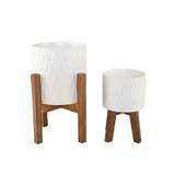 "Planter Set White Ceramic Ridged on Wood Stand 13"" and 22.5"""