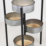 """Planter 6 Pot Metal Folding Plant Stand with Wood Base 32"""""""